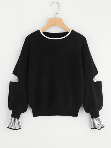 Black Insert Elbow And Cuff Jumper With Striped Bishop Sleeve