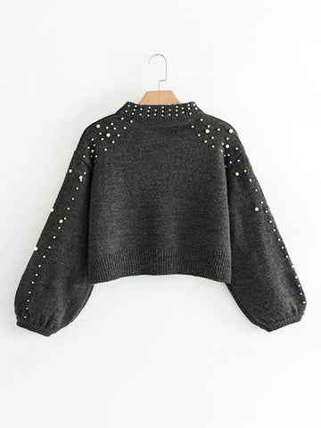 Grey Pearl Beading Crop Sweater With Bishop Sleeve
