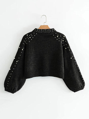 Black Pearl Beading Crop Sweater With Bishop Sleeve