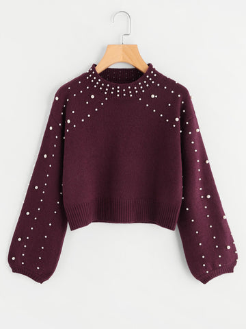 Burgundy Pearl Beading Crop Sweater With Bishop Sleeve