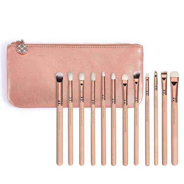 12 pieces Rose Golden Complete Eye Set Eyeshadow Eyeliner Blending Pencil Makeup Brushes