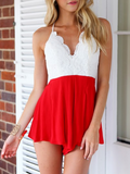 White Lace Red Romper