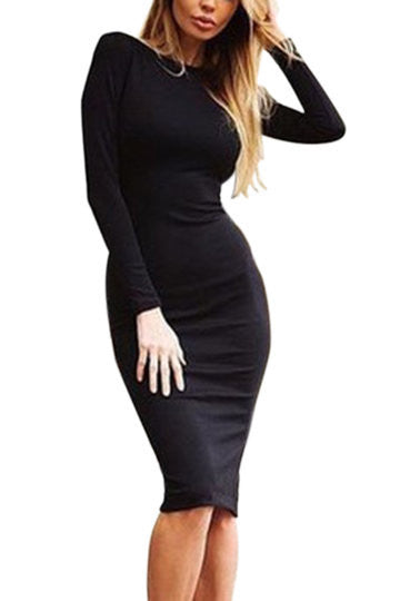 Black Bodycon Split Back Zip Midi Dress