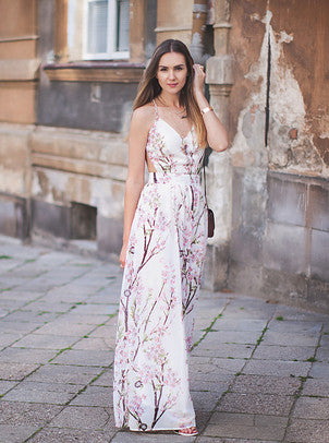 Floral Dress Spring - Apricot Florals V-neck Spaghetti Straps Backless Maxi Dress - Crystalline