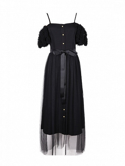 Black Cold Shoulder Front Button Self-Tie Tulle Overlay Dress