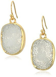 Gold Plated Drusy Drop Earrings