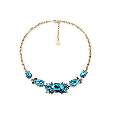 Faced Bling Blue Rhinestone Pendant Fashion Necklace