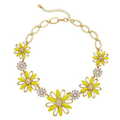 Yellow Flower Crystal Beaded Pendant Necklace
