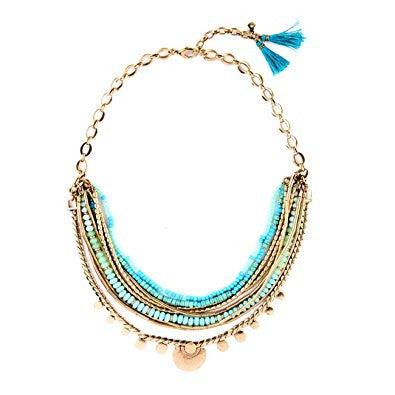 Blue Bead Multilevel Bohemia Fashion Necklace