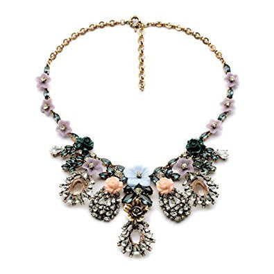Crystal Flower Statement Chunky Vintage Fashion Necklace