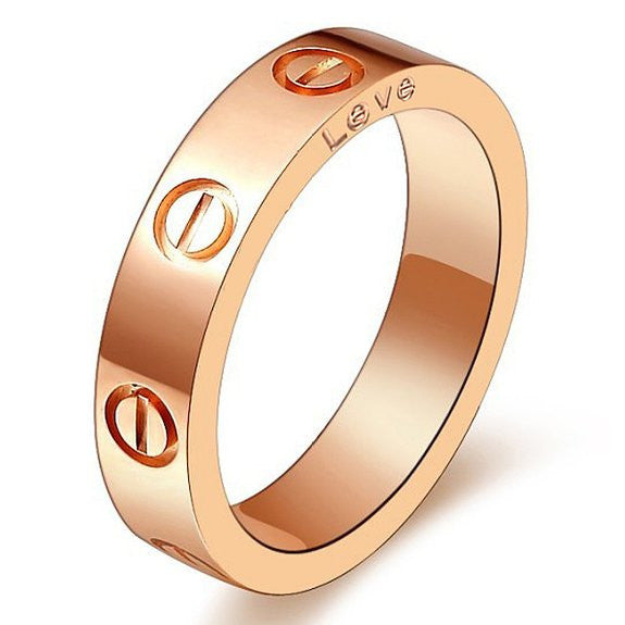 Rose Gold Plated Stainless Steel Screw Head Fashion Ring - Crystalline
