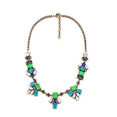 Faced Multicolor Chunky Party Necklace