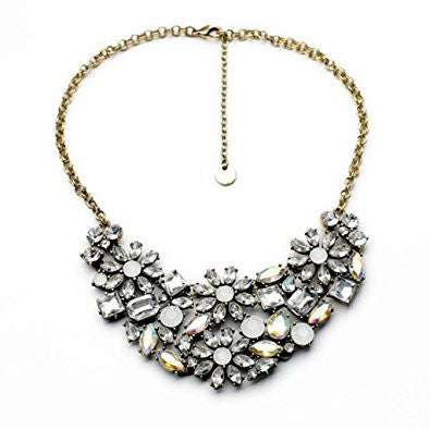 Clear Flower Crystal Cluster Fashion Necklace