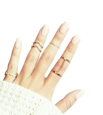 Blank K 5pcs Finger Tips Nail Ring Midi Ring Set Links Jewelry Set (Golden) - Crystalline