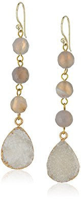 Grey and White Drusy Stone Drop Earrings