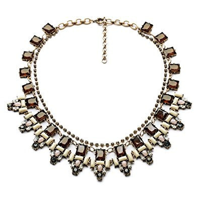 Vintage Bling Geometry Crystal Pendant Fashion Necklace
