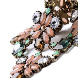 Pink Green Rhinestone Flower Crystal Chain Necklace