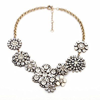 Clear Rhinestone Snow Flower Fashion Necklace