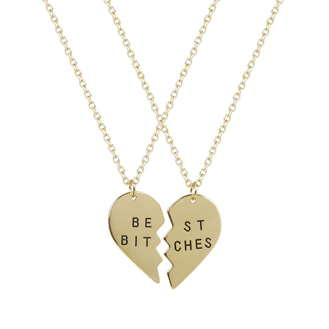 Best Friends Forever Best Bitches Heart Pendant Necklaces (2 PC) - Crystalline