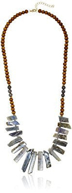 Labradorite Beaded Stick Stone Strand Necklace