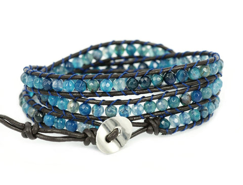 """Blue Star"" Agate Bead Genuine Leather Bracelet - Crystalline"