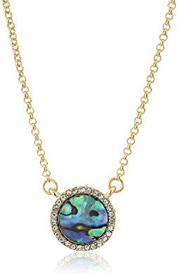Abalone Pave Crystal Round Pendant Necklace