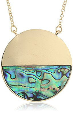 Abalone Half Moon Pendant Necklace