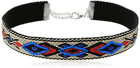 Blue Red Ethnic Design Choker