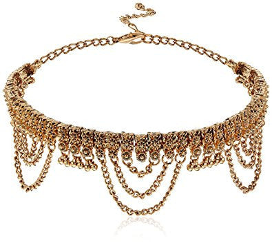 Gold Drop Choker Necklace