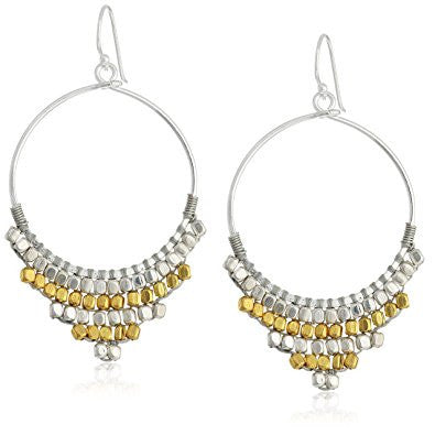 Gold and Silver Beaded Hoop Earrings