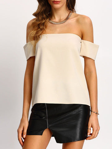 ‰ªÁ Elegance is not about being noticed - It's about being remembered...‰ªÁ Apricot Off The Shoulder Shirt - Crystalline