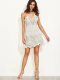Floral Lace Beige Sheer Dress Homecoming Party Dress
