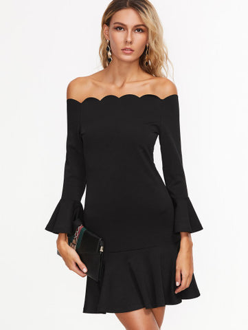 Black Scallop Trim Off the Shoulder Ruffle Sleeve Dress