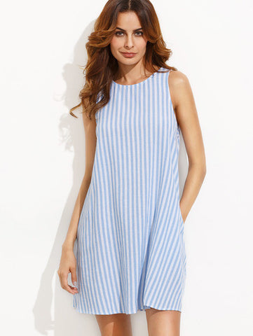Blue and White Striped Shift Dress Sleeveless