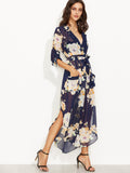 Boho Navy Floral Print Tie Wrap Chiffon Dress
