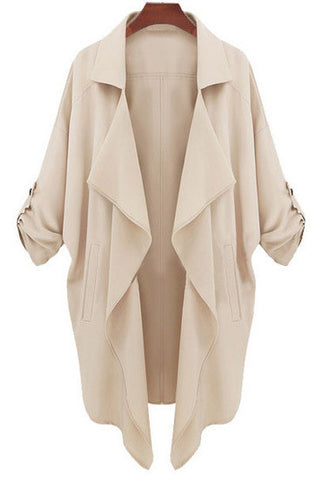 Beige Long Sleeve Casual Loose Pockets Coat - Crystalline