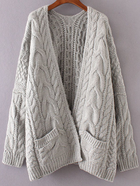 7ccb0017411 Grey Chunky Cable Knit Sweater Cardigan – Ombre Glam