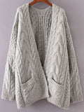 Grey Chunky Cable Knit Sweater Cardigan