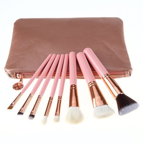 8 Pieces Rose Golden Complete Eye Set Eyeshadow Eyeliner Blending Pencil Makeup Brushes With Case