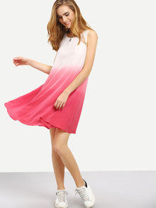 Pink Ombre Color Sleeveless Swing Tie Dye Summer Casual trendy Dress