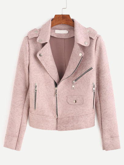Pink Seude Biker Jacket with Zippers Collar and Lapel