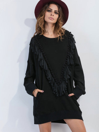 Pom Pom Fringe Black Sweatshirt Dress