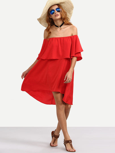Summer Beach Red Ruffle Off The Shoulder Asymmetrical Dress
