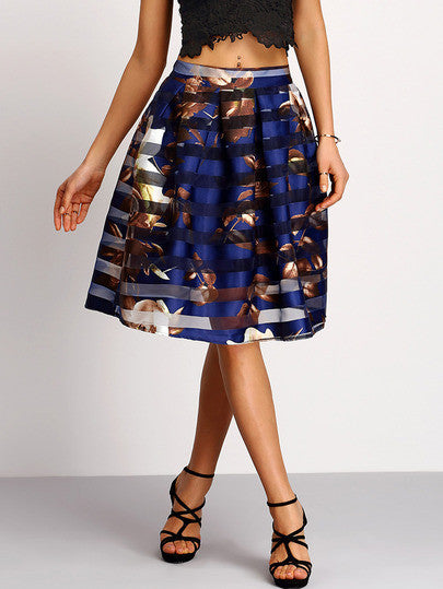 Summer Beautiful Trendy Flower Print Midi Flare Skirt