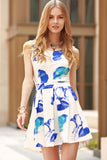 Summer Flare Skater Open Back Trendy Flower Print Dress Blue and White