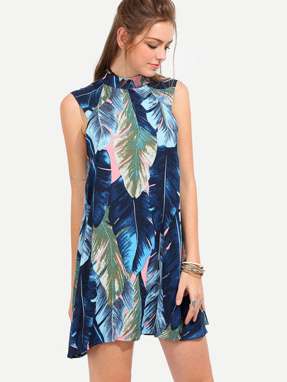 Summer Floral Multicolor Leaves Print Sleeveless Dress