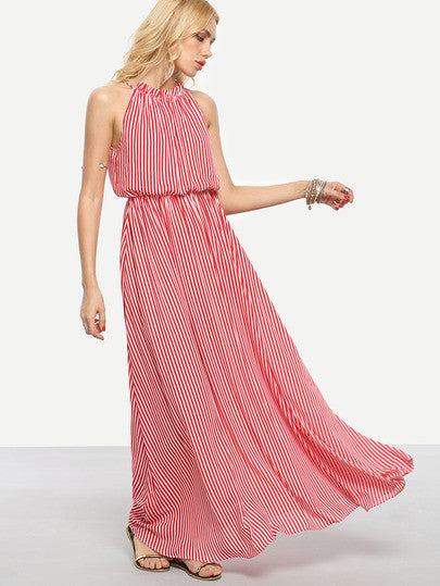 Summer Long Dress Red Striped Tie Sleeveless Maxi Dress
