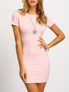 Summer Pink Crew Neck Striped Sheath Dress