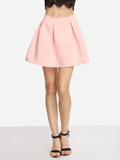 Summer Trendy Pink Pleated Cute Zipper Mini Skirt