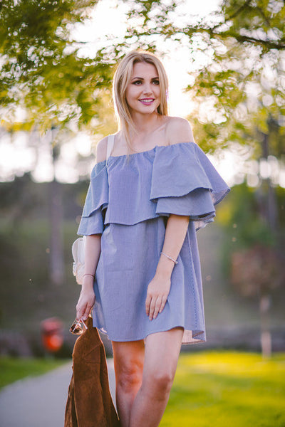 Trendy Women Summer Denim Off The Shoulder Ruffle Dress